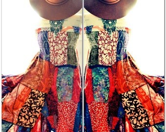 Boho chic hippie patchwork sundress, Bohemian hippie chic music festival, day tripper dress, Joplin festie sundress True rebel clothing