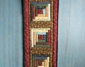 Miniature Quilted Log Cabin Wall Hanging in a Heart Hanger