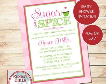 Girl Baby Shower Invitation-Digital Custom Card-Sugar and Spice