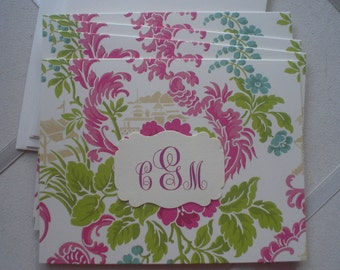 Anna Griffin Lime and Raspberry Oriental Floral Notecard Plain Creme Envelope Five for Five