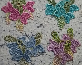 Venise Lace Flower Applique Motifs Hand Dyed Crazy Quilt Embellishment Trio