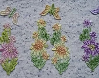 Daisy Flower, Lace Butterfly, Hand Dyed Venise Lace, Lace Applique,  Embellishment, Crazy Quilt Lace, Scrap Booking Supply