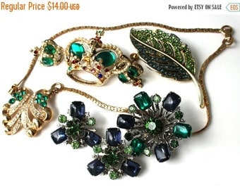 SALE Vintage Rhinestone Destash Blue and Green