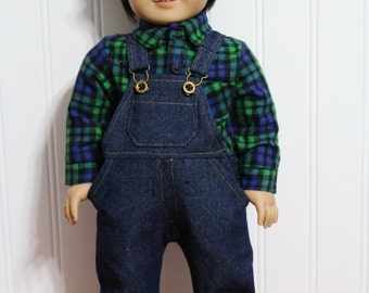 "Boy Doll Clothes Denim OVERALLS , HAT & Flannel SHIRT Fit 18"" Boy Dolls - Proudly Made in America"