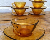 Vintage French Vereco Amber Glass Teacups & Saucers Set of 6
