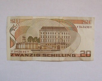 1986 series Austria Banknote 20 Schilling