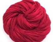 Handspun super bulky yarn in hand dyed red merino wool - 58 yards, 3.7 ounces/ 106 grams