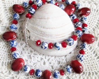 Denim Friendly Diva Necklace - Porcelain Flower Beads - Red Ceramic Beads - Chic and Classy - Versatile Piece - Summer Fun - Vacation