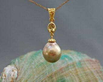 Lara - Spectagular Extra Large Green Gold Pearl Pendant, 24kt gold/ss vermeil, beryl gem, pearl pendant, gemstone pendant, necklace, jewelry