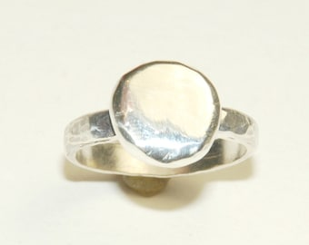 Sterling Silver Ring, Size 7, Nugget or Circle Ring, Recycled Silver