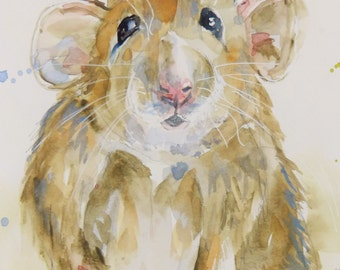 Original Mouse Watercolor Painting by Maure Bausch