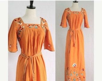 Vintage 1970s Maxi Dress Embroidered Mexican Dress Boho Dress 70s Hippie Dress 70s Dress 1970s Clothing Festival Dress Size Medium