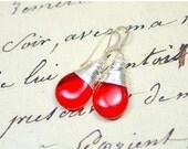 25% OFF Cherry Red Earrings, Lipstick Red Teardrop Earrings, Red Glass Drops, Simple Wire Wrap Jewelry, Minimalist Jewelry, Modern Jewelry