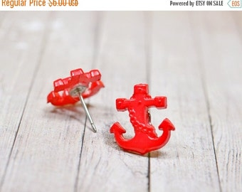 SALE Red Anchor Earrings, Bright Red Nautical Jewelry, Refuse to Sink, Beach Earrings, Anchor Jewelry