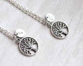 Best friend gift set of 2, 3 Tree of life Necklace with initials Personalized Necklace Bridesmaid jewelry Best Friend necklace set of 2, 3