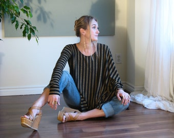 Boho Asymmetric Poncho Sweater OverSized Round Neck Long Sleeved Tunic Boxy Soft Lightweight Knit Maternity / XS - XL / Black Camel Striped