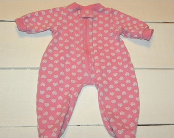 Heart Patterned Footed Pink Sleeper - 16 - 18 inch doll clothes