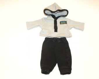 Black Jogging Pants and Grey Thermal Hooded Tshirt - 14 - 15 inch boy doll clothes