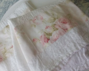 Pale Pink Shabby Cabbage Rose Fabric Trimmed Flour Sack Towel Kitchen Towel Tea Towel All Cotton