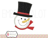 Snowman applique embroidery design. Jolly snowman embroidery design in  two sizes. Fun Christmas embroidery in applique.