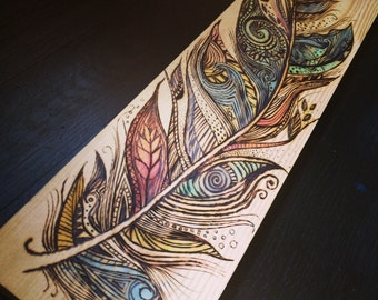 Feather - Wood burn and watercolor