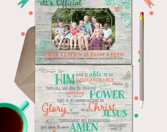 Adoption Announcement · mint & coral · change colors to fit your photo · Ephesians 3-20 · adoption party invitations
