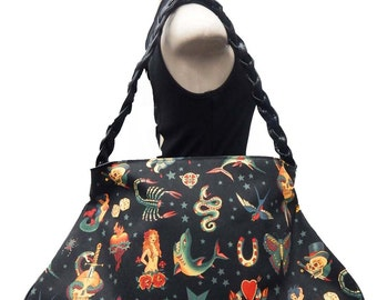 """USA Handmade Large Doctor bag With """"SKULLS TATTOO """" Pattern Satchel Style  Purse With Braided Strap Handle, Black, Cotton, New"""