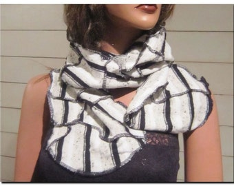 SALE! Black, Beige, and White Silk Blend Knit Upcycled Long Wrap Scarf - OOAK Chunky Reclaimed