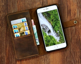 Leather Wristlet iPhone 7 7plus wallet case mobile wallet / distressed leather iPhone 7 7 plus wallet case cover  IP705MW-B