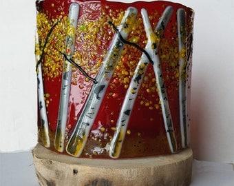 Aspen Fused Glass Votive