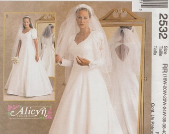 McCalls 2532 / Bridal Sewing Pattern / Bride Bridesmaid / Wedding Dress Gown / Sizes 18 20 22 24 / Bust 40 to 46