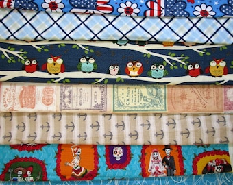 5 Yards Bargain Lot 9 Different Fabrics Quilting Holtz Owl Skull Truck