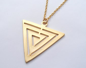 Big Gold Triangle Necklace, Large Triangle, Statement Necklace, Geometric Necklace, Long Necklace, Triangle Pendant, Matte Gold