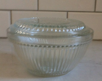 Pair of Small Ribbed Glass Bowls with Lid