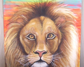 Lion at Sunset 18 x 24 Acrylic on Canvas ( Custom Order Only)