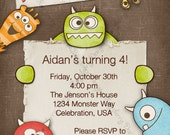 Monster Invitation, Monster Birthday Invitation, Monster Party Invite,  Birthday Invite, Monster Mash Invite, Printable Birthday Invite