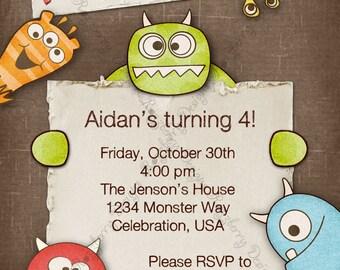 Monster Invitation, Monster Birthday Invitation, Monster Party Invite,  Birthday Invite, Monster Mash Invite, Printable Birthday Invite