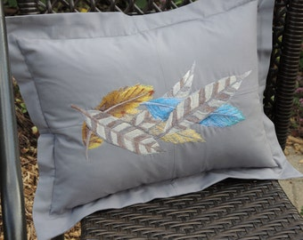 Feather Decorative Pillow, Embroidered, Modern, Home Decor