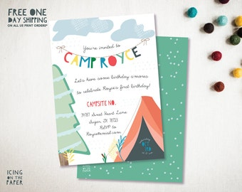 Camping Party Invitation - Invite - Birthday - Baby Shower - Invitation - Rustic - Tent - Outdoor