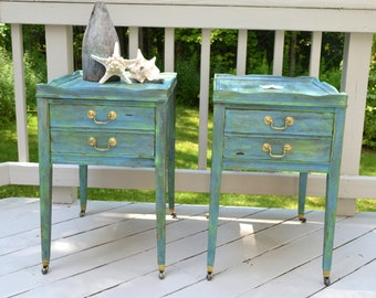 Pair of Hand-Painted, Nautical Style Vintage End Tables, Salt Washed, Beach House Decor, Coastal Decor, Shabby Chic, Cottage Chic