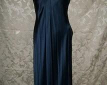 Judith Hart  Dark Blue Long Silk Nightgown Dress Size XSmall