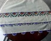 White Ivory Lilac Floral Cotton Fabric Scarf Shawl Embellished  Crochet Lace edges Turkish oya scarf