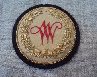Vintage Hand Embroidered Gold Bullion Emblem Metallic Thread Patch Insignia WW With Golden Thread Wreath