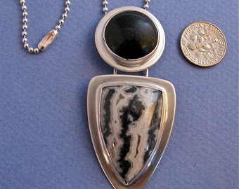 Black onyx, black and white crazy lace agate sterling silver pendant necklace
