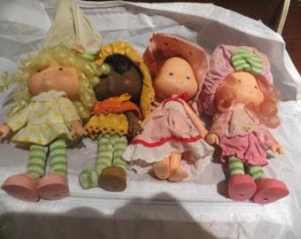 1970s  American greetings  Strawberry Shortcake dolls  lot of 4