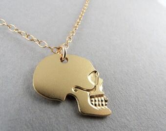 skull charm, little gold skull, skull, skull necklace, memento mori, skull jewelry, small skull, little skull, mini skull, gift under 50