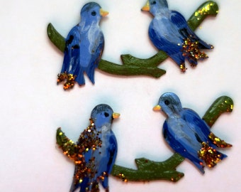 N1438E Vintage Bird Birds Findings Stampings Hand painted NOS Components Brass