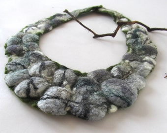 Felted  necklace Grey stones necklace grey rock  wool necklace Unique jewelry Women fiber necklace felt  lariat