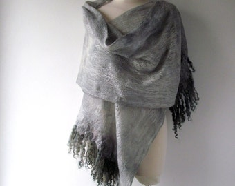 Cobweb Felted scarf Women Wedding Airy scarf , grey Gray scarf, Light Lace Scarf , by Galafilc