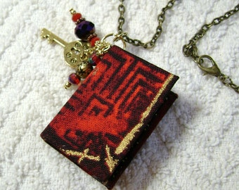 Book Necklace - Book Jewelry - Book Pendant - Book Journal - Handmade Book - Red Abstract Fabric - BN-12
